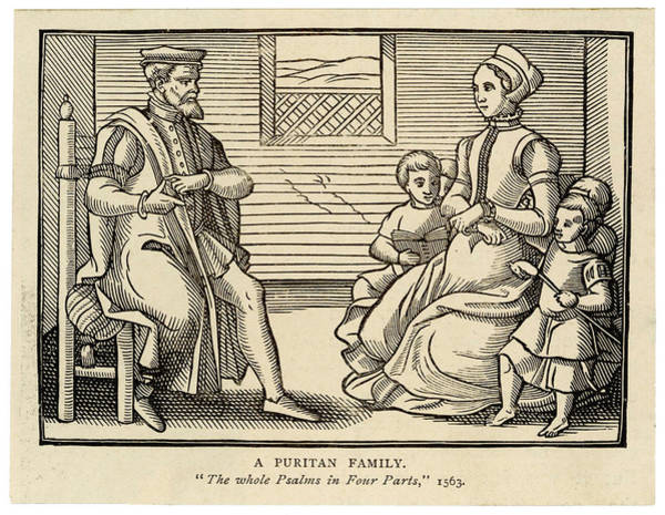 Pregnancy Drawing - A Puritan Family - Father Sits by Mary Evans Picture Library