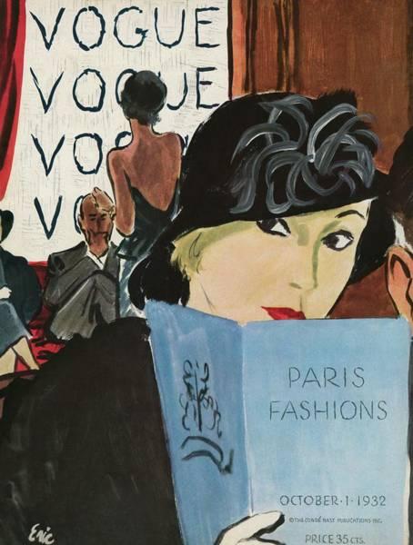 Reading Photograph - Vintage Vogue Cover Of Paris Fashions by Carl Oscar August Erickson