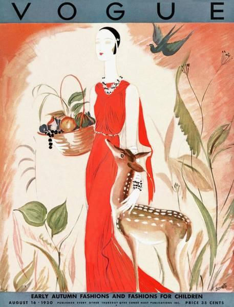 Basket Photograph - A Vintage Vogue Magazine Cover Of A Woman by Eduardo Garcia Benito
