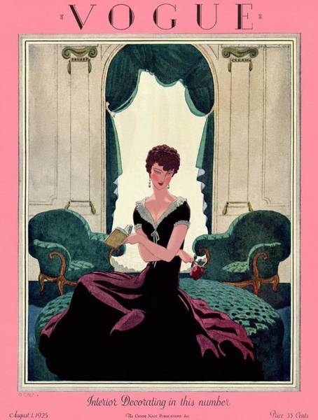 Mirror Photograph - A Vintage Vogue Magazine Cover Of A Woman by Pierre Brissaud