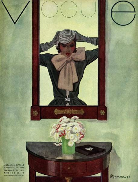 Mirror Photograph - A Vintage Vogue Magazine Cover Of A Woman by Pierre Mourgue