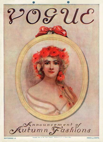 Plant Photograph - A Vintage Vogue Magazine Cover Of A Woman by Artist Unknown