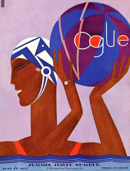 Water Photograph - A Vintage Vogue Magazine Cover Of An African by Eduardo Garcia Benito