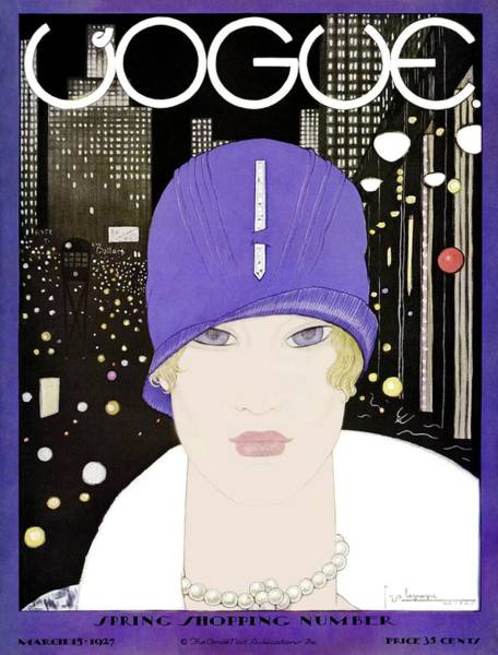 Retro Photograph - A Vogue Magazine Cover Of A Woman by Georges Lepape