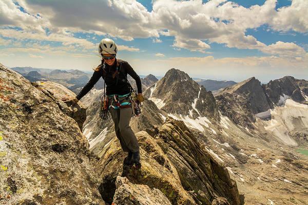 Wind River Range Wall Art - Photograph - A Woman Rock Climber In Titcomb Basin by Kennan Harvey