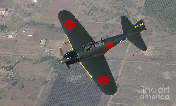 Japanese Zero Photograph - A6m Japaneese Zero Flying Over Chino by Phil Wallick