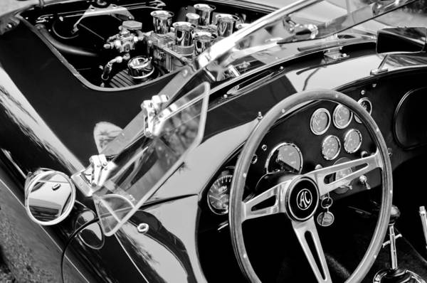 Steering Wheel Wall Art - Photograph - Ac Shelby Cobra Engine - Steering Wheel by Jill Reger
