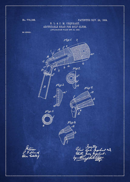Pga Digital Art - Adjustable Head For Golf Clubs Patent Drawing From 1904 by Aged Pixel