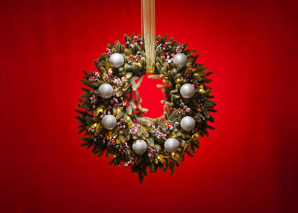 Photograph - Advent Wreath Over Red Background by U Schade