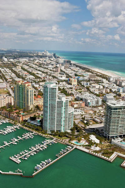 Miami-dade Photograph - Aerial View Of City At The Waterfront by Panoramic Images