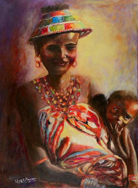 Painting - African Mother And Child by Sher Nasser