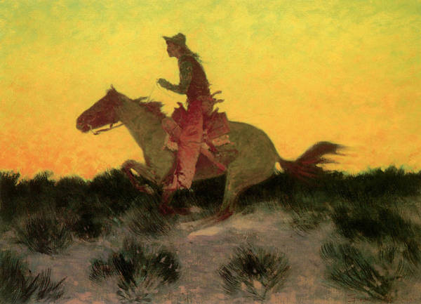 Remington Photograph - Against The Sunset by Frederic Remington