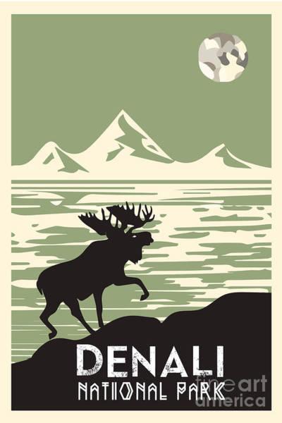 Digital Art - Alaska Denali National Park Poster by Celestial Images