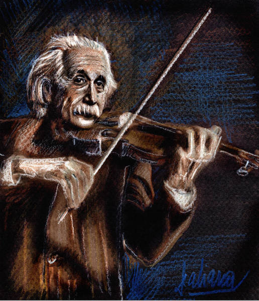 Albert Einstein And Violin Art Print
