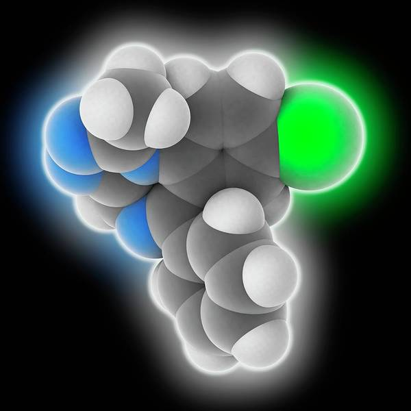 Short Cut Photograph - Alprazolam Drug Molecule by Laguna Design