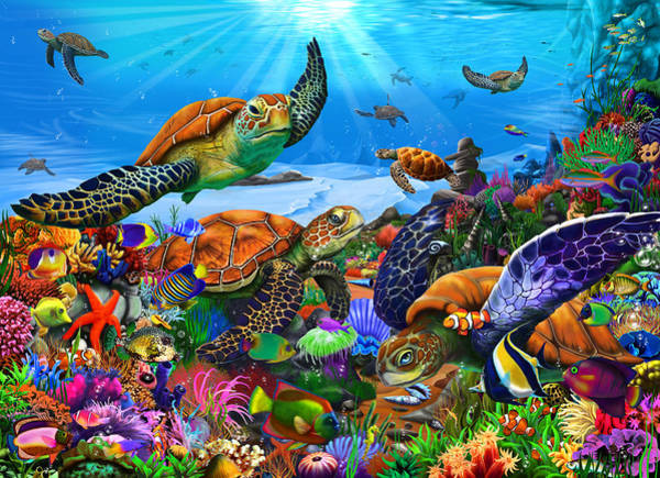 Wall Art - Painting - Amazing Undersea Turtles by MGL Meiklejohn Graphics Licensing