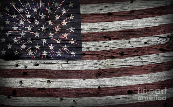 Wall Art - Photograph - American Flag Fireworks by John Stephens