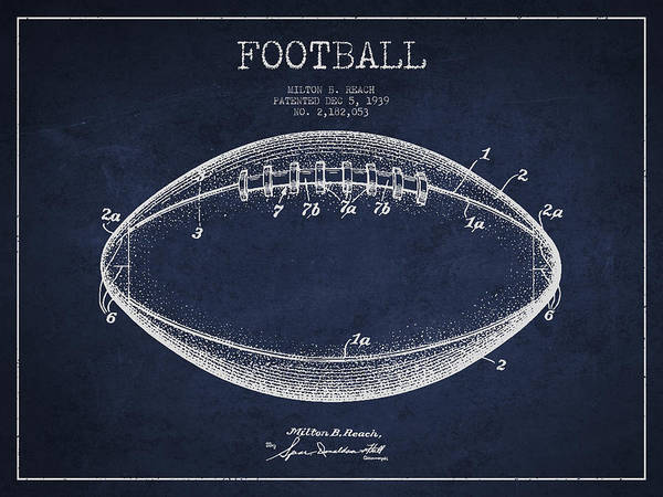 American Football Digital Art - American Football Patent Drawing From 1939 by Aged Pixel