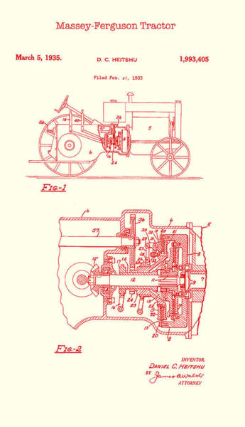 Old Tractor Drawing - Antique Massey-ferguson Tractor Patent 1935 by Mountain Dreams