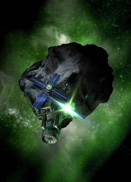 Space Exploration Digital Art - Asteroid Mining, Artwork by Victor Habbick Visions