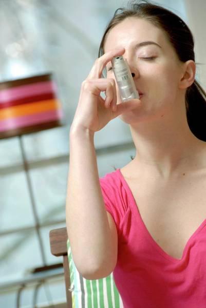 Thru Photograph - Asthma Inhaler Use by Aj Photo/science Photo Library