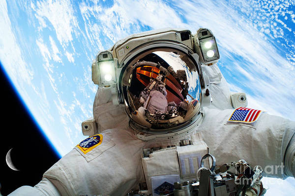 Photograph - Astronaut Selfie During Spacewalk By Nasa by Celestial Images