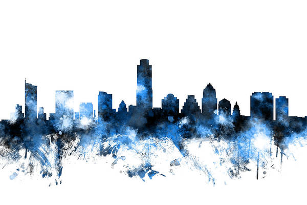 Usa Digital Art - Austin Texas Skyline by Michael Tompsett