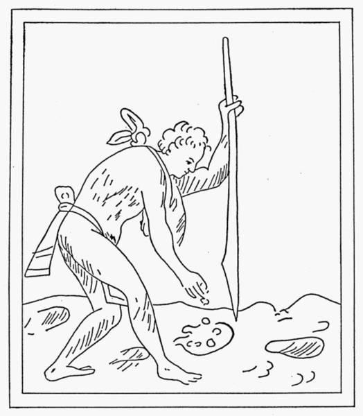 Indian Corn Drawing - Aztec Farmer by Granger