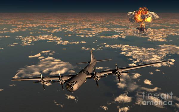 Atomic Weapons Digital Art - B-29 Superfortress Flying Away by Mark Stevenson