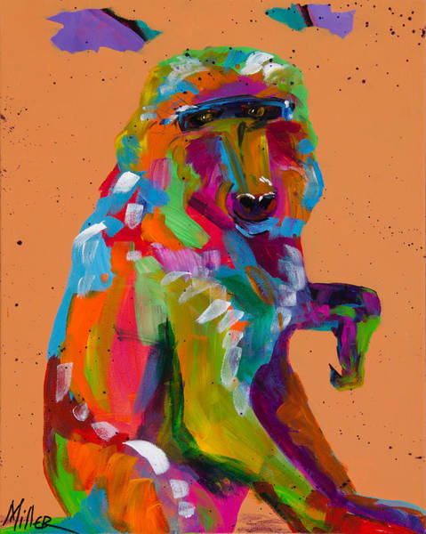 Colorado Wildlife Wall Art - Painting - Baboon by Tracy Miller
