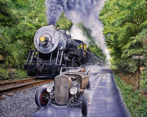 Trains Painting - Backwoods Duel by Ruben Duran