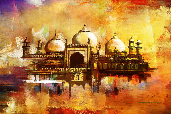 Wall Art - Painting - Badshahi Mosque by Catf