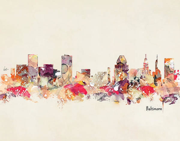 Maryland Wall Art - Painting - Baltimore Maryland Skyline by Bri Buckley