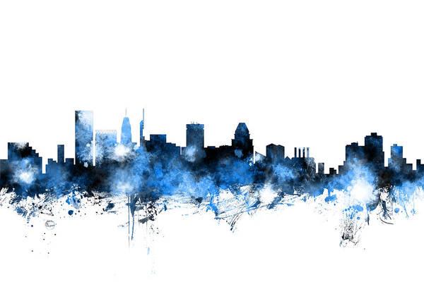 Maryland Wall Art - Digital Art - Baltimore Maryland Skyline by Michael Tompsett