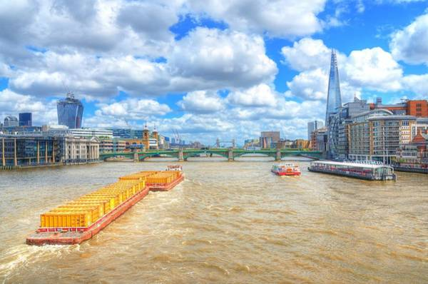 Freight Wall Art - Photograph - Barge On The Thames by Jim Hughes