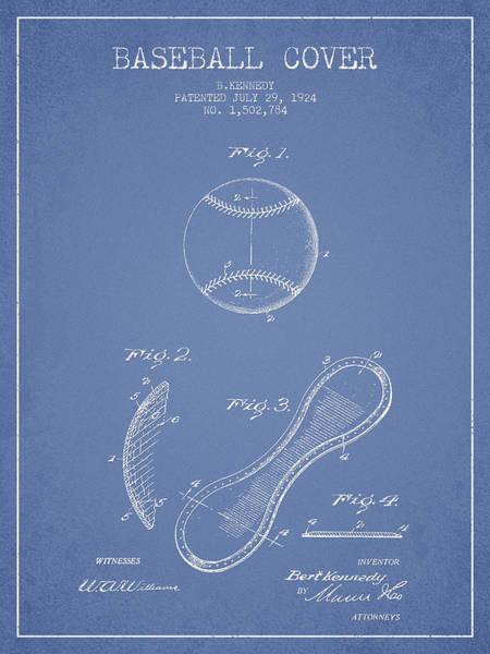 Baseball Bat Patent Wall Art - Digital Art - Baseball Cover Patent Drawing From 1924 by Aged Pixel