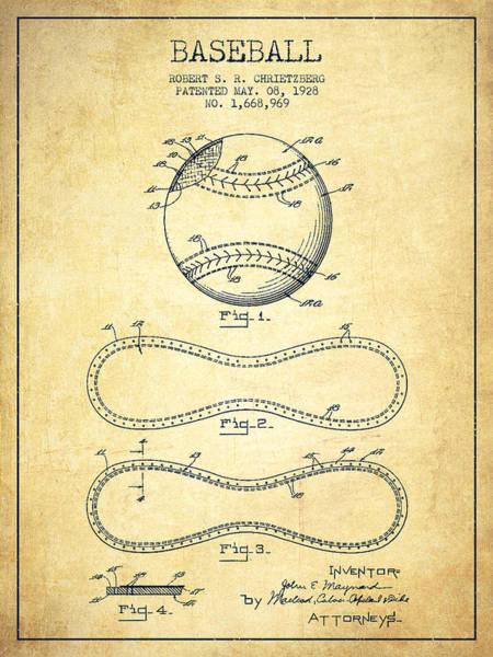 Baseball Bat Patent Wall Art - Digital Art - Baseball Patent Drawing From 1928 by Aged Pixel