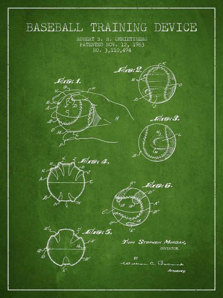 Baseball Bat Patent Wall Art - Digital Art - Baseball Training Device Patent Drawing From 1963 by Aged Pixel