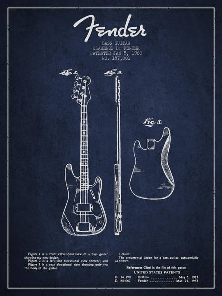 Electric Guitar Digital Art - Bass Guitar Patent Drawing From 1960 by Aged Pixel