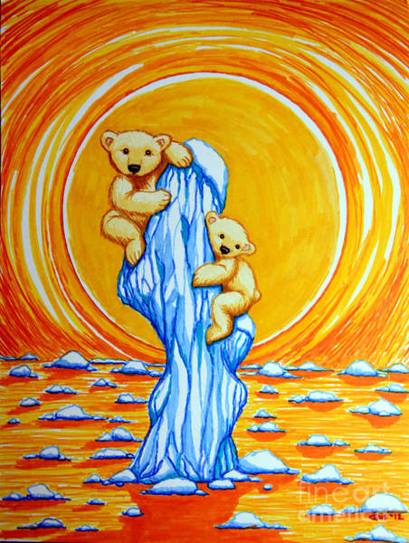 Polar Bear Drawing - Bearly Hanging On by Nick Gustafson