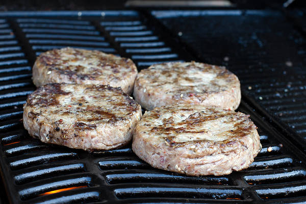 Barbeque Photograph - Beef Quarterpounder Burgers Cooking On The Gas Barbecue by Fizzy Image