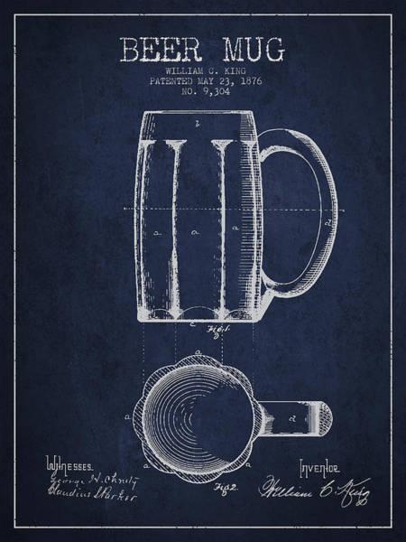 Beers Wall Art - Digital Art - Beer Mug Patent From 1876 - Navy Blue by Aged Pixel