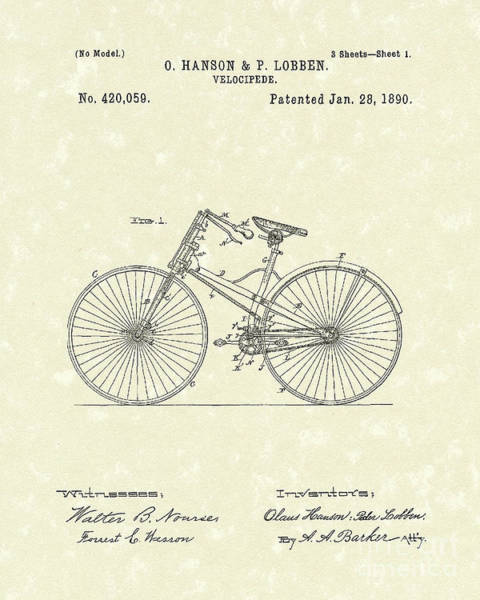 Drawing - Bicycle 1890 Patent Art by Prior Art Design