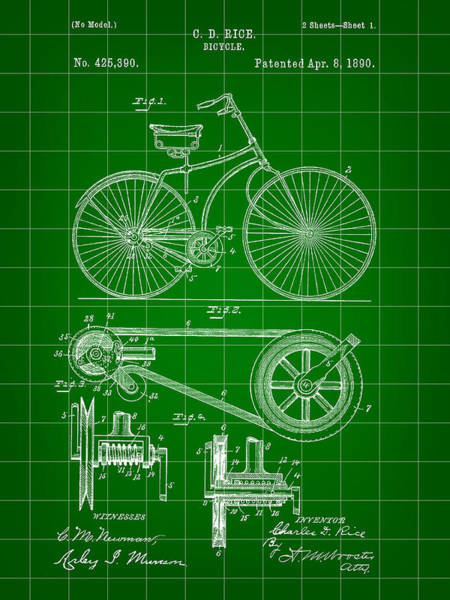 Wall Art - Digital Art - Bicycle Patent 1890 - Green by Stephen Younts