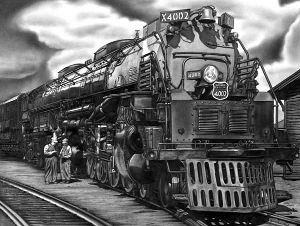 Locomotive Drawing - Big Boy by Jerry Winick