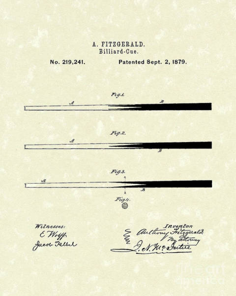 Wall Art - Drawing - Billiard Cue 1879 Patent Art by Prior Art Design