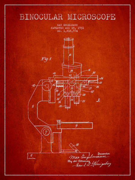 Wall Art - Digital Art - Binocular Microscope Patent Drawing From 1931 - Red by Aged Pixel