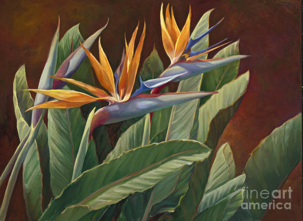 Birds And Flowers Painting - 2 Birds Of Paradise by Laurie Snow Hein