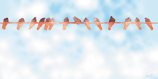 Wall Art - Painting - Birds On A Wire 5 by The Art of Marsha Charlebois