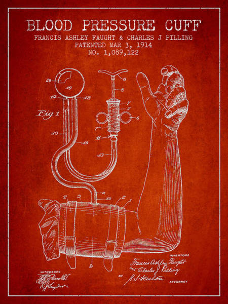 Pressure Wall Art - Digital Art - Blood Pressure Cuff Patent From 1914 by Aged Pixel